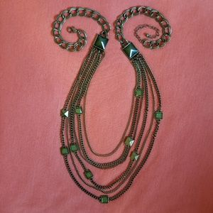 Cable Chain & Green Pyramid Inlay Necklace